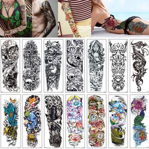 48x17cm QB Falso Grande Big completa manica del braccio Temporary Tattoo Skull Pavone Nun Flower Design Drago manica Sticker Donna Uomo Corpo Tatuaggi Mix