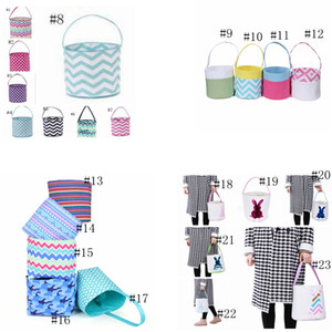 23styles Striped Easter Basket Canvas Rabbit Buckets Easter Bunny Bags Plaid Egg Candy Baskets Wave Bunny Tote Patchwork Handbags GGA3191