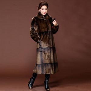 Brasão Atacado-Gradiente de cor real Mink Quente Longo Natural Fur Coats Mulheres Inverno Casacos Jacket de luxo Couro 5XL S003