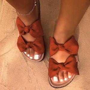 Arc-noeud Romain Plat Pantoufles Femme Chaussures Casual Plage Indooroutdoor femmes D'été De Chaussures Bohème Non-slip plat gifles femmes