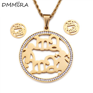 Hot Sale Fashion Women Silver Gold Stainless Steel Round Mama Boy Girls Crystal Necklace Earrings Jewelry Sets for Mother Gift