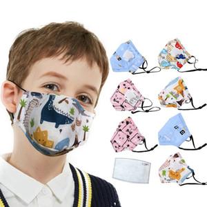 10 pcs Anti poussière Visage Bouche Masque +Filtre À Charbon réutilisable Respirant Coton De Protection Enfants Enfant de bande dessinée PM2. 5 bouche visage masque
