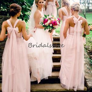 Forest Pink Convertible Abiti da damigella d'onore Figura intera Tulle Autunno Country Garden Maid Of Honor Dress Robes de demoiselles d'honneur a buon mercato