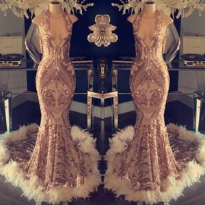 Rose Gold neue prom Kleider elegant vestidos formales de noch 2019 Dubai Abaya Kaftan Kleider Feder Cocktailkleider Parteikleid ogstuff