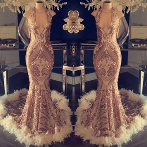 ouro rosa nova prom vestidos Elegantes vestidos formales de noche 2019 Dubai Abaya Kaftan Kleider vestidos de cocktail de penas vestido de festa ogstuff