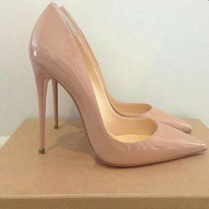 GENSHUO Женщины Насосы Каблуках Nude Остроконечные Toe Sexy Туфли на высоких каблуках Stiletto Высокие каблуки дамы 12 10 8 см Большой размер 42 T200111
