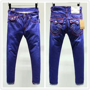 Jeans True ROBIN haute qualité de la mode Hommes Pantalons Jeans Designer foncé couleur unie droite tr Pantalon Jean pour les hommes Livraison gratuite