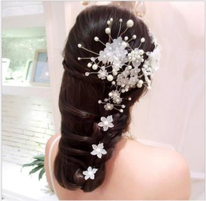 Свадебные волосы ручной работы головы цветок скраб цветок волос Коса U-образный корейский жемчуг свадебные аксессуары для волос свадебный головной убор