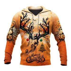 Liumaohua ciervos de la manera CAZA 3D Por todas partes impresas camisas de impresión en 3D con capucha / camiseta / sudaderas con cremallera Hombre Mujeres Feliz Navidad