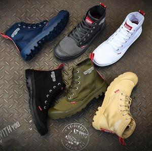 Горячая распродажа дизайнерские туфли PALLADIUM Pallabrouse Мужчины Высококачественные армейские военные ботильоны Холст Кроссовки Повседневная обувь Man Anti-Slip sport Shoesl