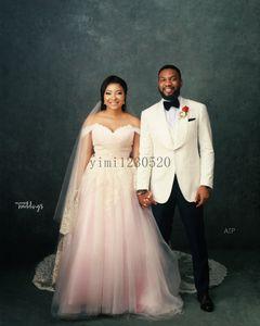 Pink Wedding Dresses Off Shoulder Lace up Back Sweep Train Appliques Bow Colorful Bridal Gowns vestidos de novia Plus Size