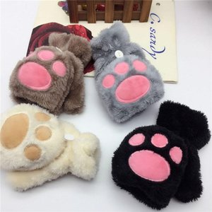 hot Autumn and winter warm girls bear palm flip half finger gloves cat claw gloves fingerless plush cute Party gloves Party SuppliesT2C5169
