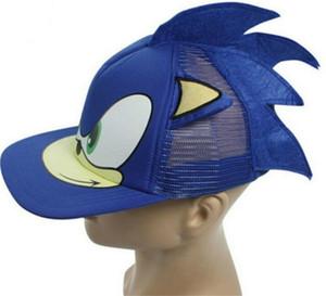 Neuer blauer netter Junge 3D Sonic The Hedgehog Cartoon Youth justierbares Baseballmütze-Kappen-Blau für Jungen Heiße verkaufenparteigeschenke