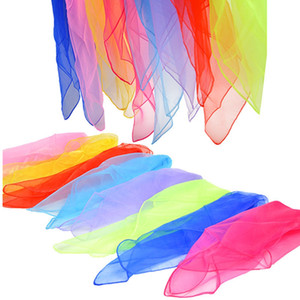 60*60cm Silk Scarf Small Square Scarves Bandana Solid Color Dance Show Props Candy Color Head Wraps Women Kids HHA1404
