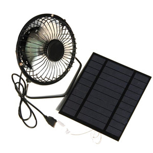 2.5W 5V Solar Powered Panel Iron Fan For Home Office Outdoor Traveling Fishing 4 Inch Cooling Ventilation Fan Usb New