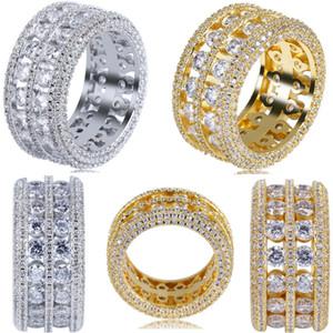 Anillo para hombre de la joyería hip hop vintage Circón helado de cobre anillos de lujo chapado en oro y plata para la joyería de moda al por mayor 2019