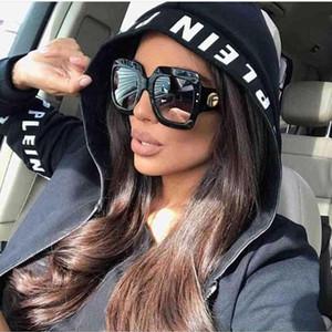 Neueste Maxi-Quadrat-Sonnenbrille Frauen-Marken-Designer Rot Grün Sonnenbrillen weiblich Jahrgang Shades Brillen