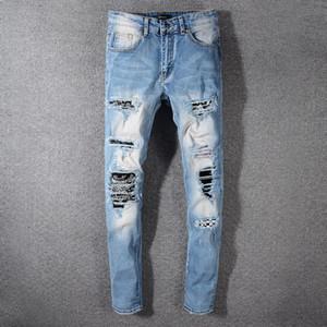 Der Diamant der Nesest Art- und Weisemarken-Mens zerrissene dünne passende Motorrad-Jeans-Radfahrer-Denim-männlicher Reißverschluss Jean # 5770 blaue Größe 28-40 Freies Verschiffen