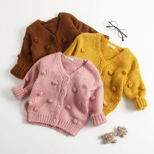 Kız Bebek Kazak Kabarcık Topu Örgü Hırka Pamuk Saf Renk Kazak Coat Bebek Kız Kış outwears Yenidoğan Giyim DW4382