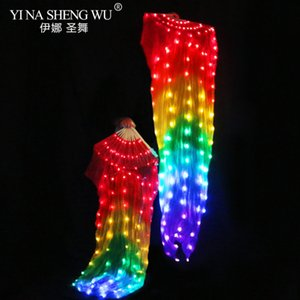 1pc Right Left Belly Dance Led Silk Fans 100% Silk 180x90cm White Rainbow Dance LED Fans Stage Performance Props With Batteries
