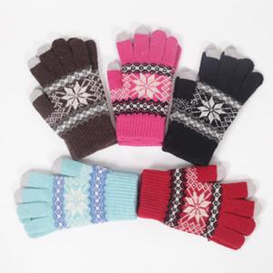 De tejer guantes de pantalla táctil capacitiva mujeres del invierno guantes de lana caliente antideslizante de punto Telefingers del copo de nieve Guante LJJA3511