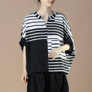 2020 Summer Arts Style Women Batwing Sleeve Loose Casual Shirt Cotton Linen Striped Patchwork V-neck Blouse Femme Tops Plus Size