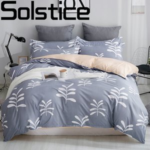 Solstice Home Textile Fashion Leaves Girls boys Bedding Set Bed Linen Kids Duvet Cover Sets Twin Full Queen King Size