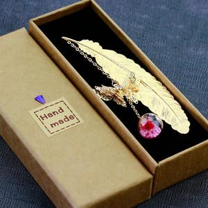 scatola unica fortunato ospite di fascino del pendente favore festa di nozze souvenir omaggio regalo del segnalibro metallo oro piuma argenteo laurea regalo