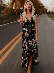 Designer Kleider Blumendruck mit V-Ausschnitt aushöhlen langen Kleid-Sommer-beiläufig Ferien Panelled Spitze Kleidern der Frauen