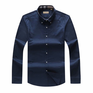 2019 осень и зима плед большой размер мужская рубашка с длинными рукавами мужской британский бренд поло рубашки оксфорд бизнес рубашка маленькая лошадка одежда S-3XL