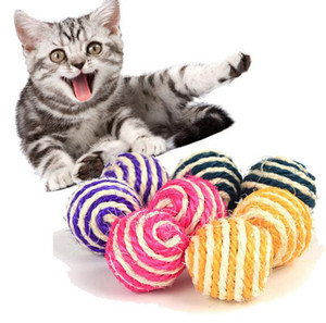 Cat Pet Sisal Rope Weave Ball Rompicapo Play Chewing Rattle Scratch Cattura del giocattolo GA660