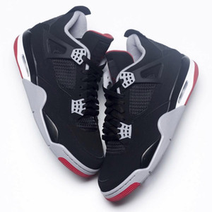 4 Bred Noir rouge New 2019 publié TOP Factory Version 4s Baskets Hommes Baskets en Daim Baskets avec Boîte