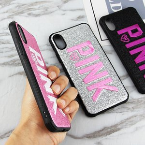 Shockproof Cute Love Pink Phone Cases For iPhone 11 Pro Max XS Max XR X 8 7 6 6S Plus SE 2020 3D Embroidery Glitter Soft TPU Cover