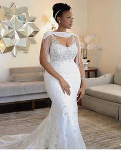 2020 Nouvelle Aso Ebi sirène Weddding dreses avec Wrap Tassel perles en cristal dentelle Appliqued robe de mariée sexy sud-africaine