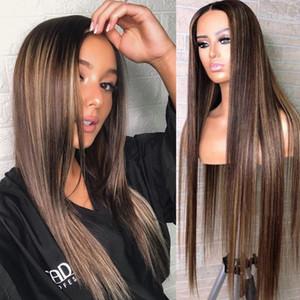 13x4 кружева передняя Браун подчеркивает парик блондинки 360 Frontal шнурка человеческих волос парики с волосами младенца до нарветесь объемная волна Wigsig блондинка меда