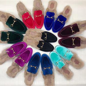 Designer Sandals Mens Mules Slippers Slipper Mocassini Scarpe 100% Animali in vera pelle Princetown in pelle con catena metallica Pantofole per donna US 11,5