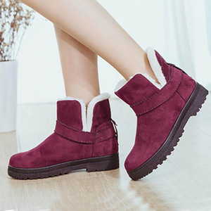 new fur one snow boots female large size short tube winter foreign trade ladies short plus cotton boots children