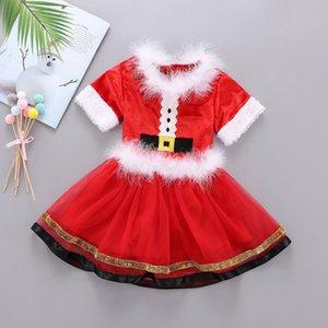 Abbigliamento Natale bambini set di abito da bambino collo di pelliccia di Babbo Natale della neonata di natale abiti top garza tutù gonne 2pcs / set Xmas Skirt da DHL