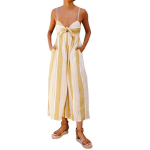 Atacado Moda Mulheres Confortáveis Stripe Print Macacões Lady Solto Playsuit Calças Compridas M300111