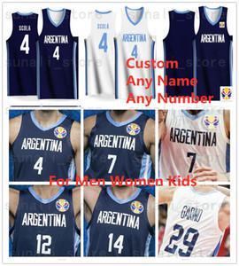 Maglie basket Argentina Mondiali 2019 4 Luis SCOLA 29 Patricio GARINO 7 Facundo CAMPAZZO 14 Gabriel DECK Rudy 27 Gobert Uomo Donna Bambini