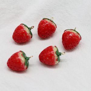 Art Emaille-Erdbeercharme-Art der Art- und Weise50pcs / lot 3D gut für DIY Fertigkeit, Schmuckherstellung 24 * 19mm