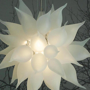 Frosted White Blown Glass Chandeliers Designer Glasses Pendant Lights Italy House Decoration Living Room Lamp