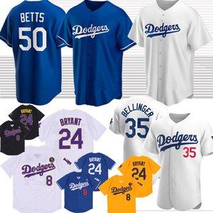 Dodgers Baseball Jerseys 50 Mookie Betts Los Angeles 35 Cody Bellinger 17 Joe Kelly 22 Clayton Kershaw Personalizado 2020 jérsei de basebol