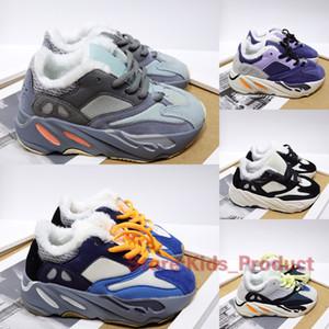 700 Shoes além de veludo crianças para meninas Meninos Trainers Kanye West Inércia corredor da onda Teal azul do inverno Keep Warm Running Shoes Tamanho 28-35