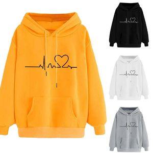 SO-039 2020 new plus velvet autumn sweater ECG love print loose hooded sweater long sleeve hoodies