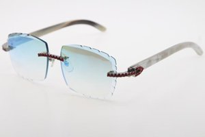 New Selling Rimless Red Big Stones Optical 3524012-A White Genuine Horn Buffalo Horn Sunglasses High Quality Brand Carved lense Glass Unisex