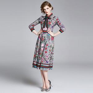 Womens Luxo desfile de moda Floral Impresso Longo camisa queda laço de fita elegante Primavera magros Midi vestidos de festa Casual Escritório das senhoras