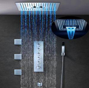 """럭셔리 5 기능 16 """"LED 라이트 비 샤워 헤드 세트 높은 흐름 온도 조절 믹서 수도꼭지 스파 마사지 샤워 시스템 강우 안개 폭포"""