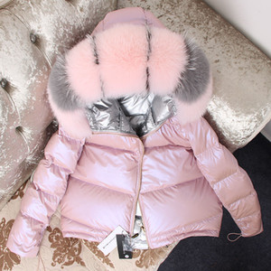 Maomaokong 2018 moda ördek aşağı ceket Kadın kış ceket aşağı ceket Ayrılabilir gerçek tilki kürk yakalı pike kat Kalın winterMX190924