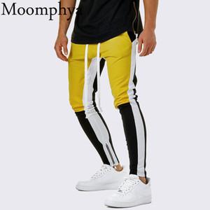 Moomphya Pantaloni da jogging eleganti da uomo con cerniera laterale Pantaloni streetwear hip hop pantalon homme Pantaloni slim color block pantaloni da uomo SH190912